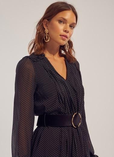 Monamoda A Shape Puantiyeli Şifon Elbise Siyah